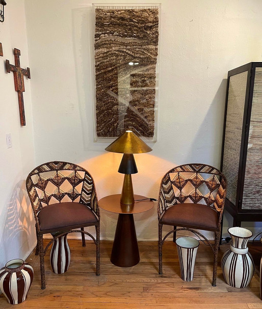 Artisan made hand-forged, hand woven with straw chairs
