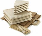 Assiettes barquettes couverts sacs eocre