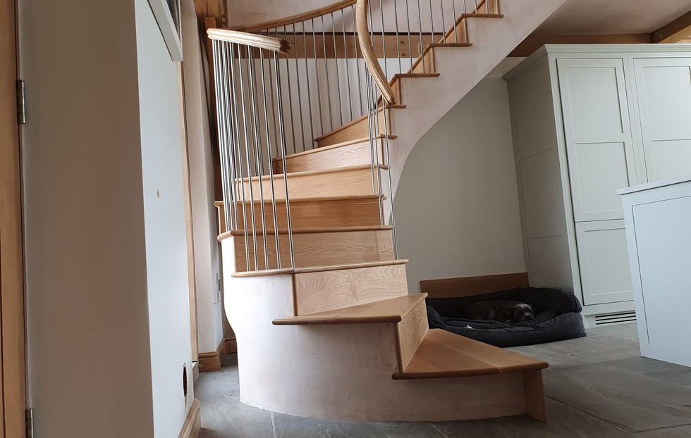 Bespoke stair for oak framed house