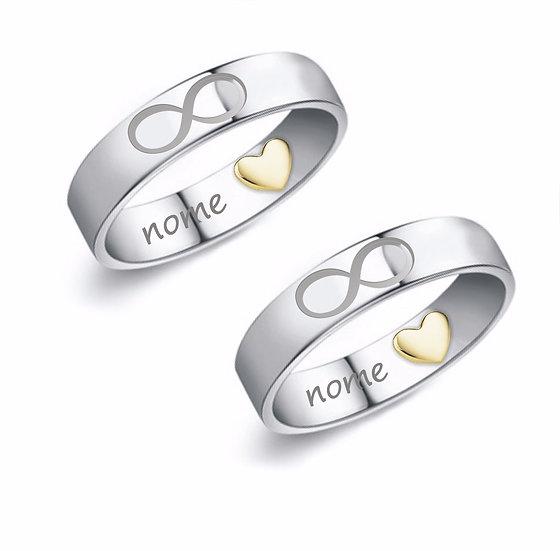 Coppia di Anelli  in argento con cuore in Oro