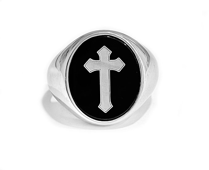 "Anello "" ONIX CROSS """