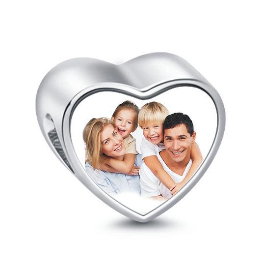 Charm FOTO cuore acciaio