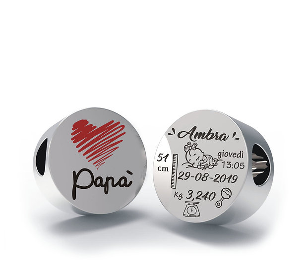 Charm PAPA'  in Argento 925