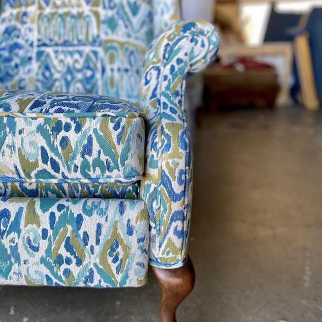 Antique Wingback + Modern Fabric
