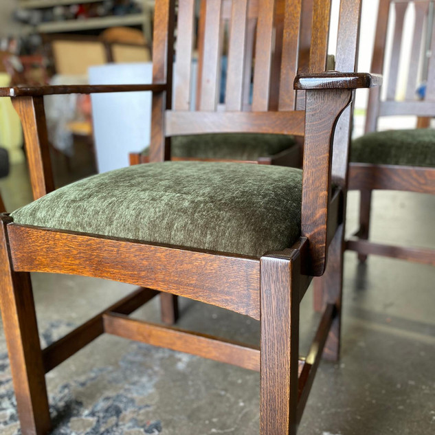 Green Fabric Dining Chairs