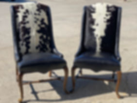 Black genuine leather cowhide chairs