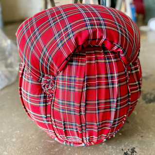 Red Flannel Footstool