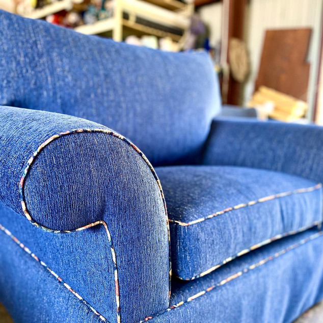 Blue Oversized Chair with Colorful Piping