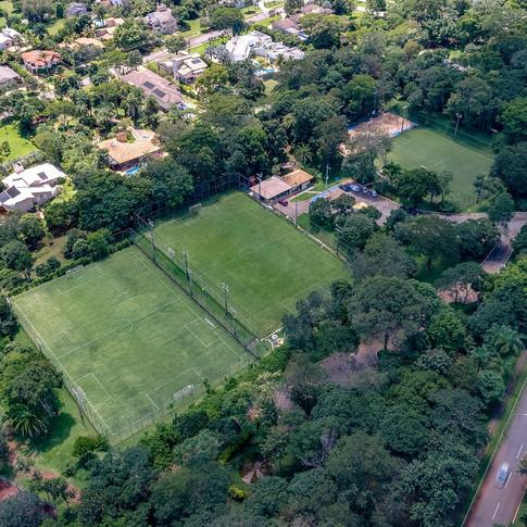 Foto aérea da área de lazer
