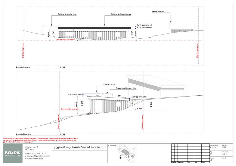 R40-1 Byggemelding- Fasade Sørvest, Nord
