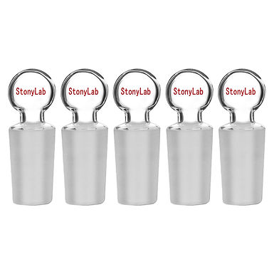 Glass Penny Head Glass Hollow Stopper, Closed Bottom, 5 Pack
