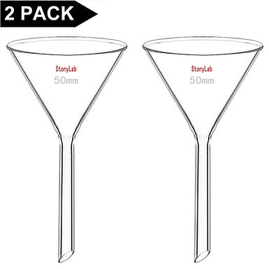 2-Pack Glass Heavy Wall Funnel Borosilicate Glass Funnel