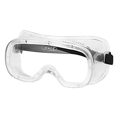 Safety Goggles, Chemical Splash and Impact Resistant - Black
