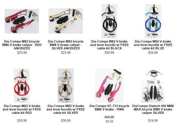 Dia-Compe MX2 VC-733 V-brake brake for BMX or MTB bicycle PURPLE ANODIZED
