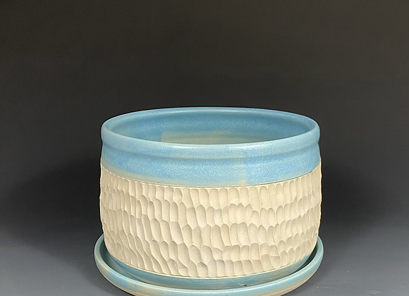 Hand Carved Blue Pottery Planter