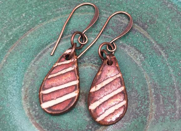 Porcelain Teardrop Ancient Copper Earrings
