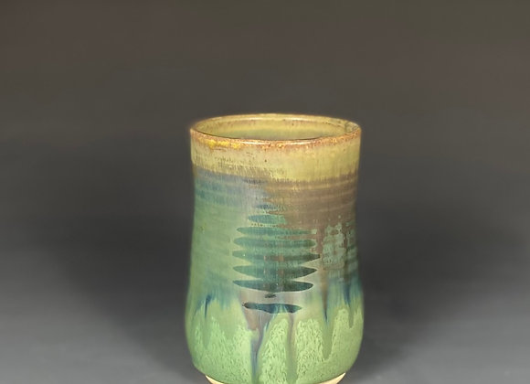 Shimmery Green Pottery Cup