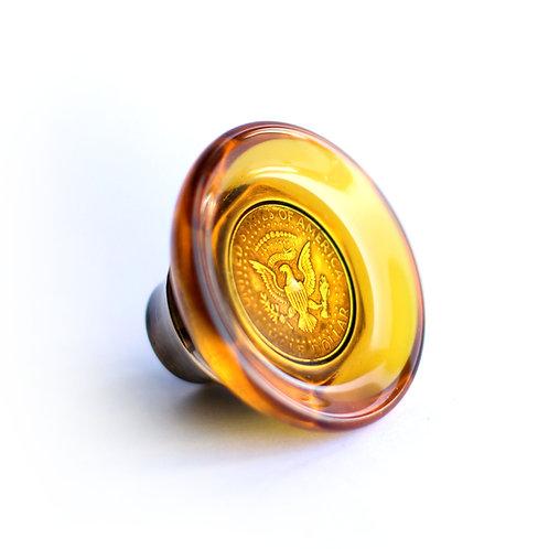 Half Dollar Shifter Knob - Amber / Brass
