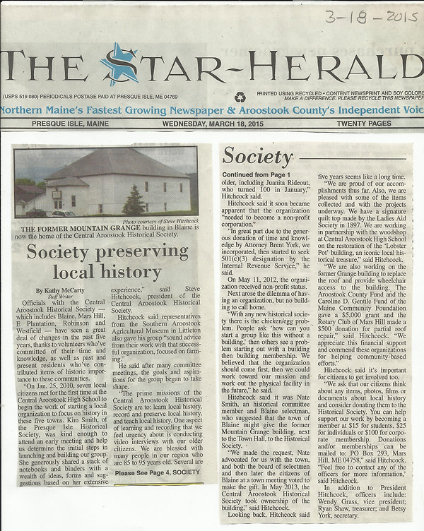 Star Herald Article on Central Aroostook Historical Socitey date May 18, 2015