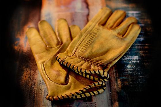 Hexan Motorworks custom leather motorcycle gloves