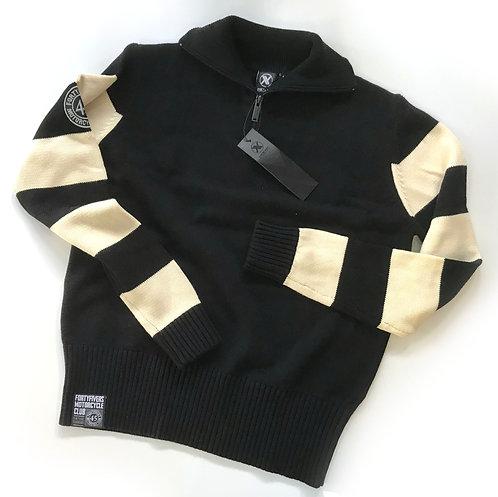Vintage Knit Race Jersey - Black/Ivory