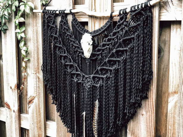 Custom Black Macrame Wall Hanging