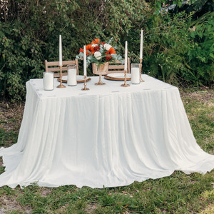 Ivory Pooling Table Skirt
