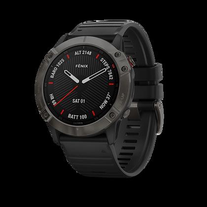 fēnix 6X Sapphire, carbon Gray DLC avec bracelet noir