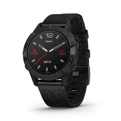 fēnix 6 Revêtement en carbone amorphe noir avec bracelet en nylon noir chiné