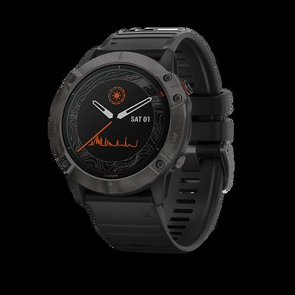 fēnix 6X - Pro Solar Pro Solar, titane et carbon Gray DLC avec bracelet noir