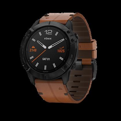 fēnix 6X - Revêtement en carbone amorphe noir avec bracelet en cuir
