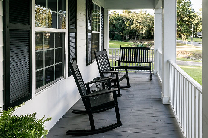 Front Porch of Southern home with Black