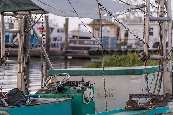 Interior of shrimp fishing boat docked o