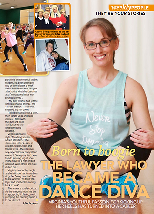 The NZ Woman's Weekly featuring an article on Never Stop Dancing's dance fitness classes in Wellington