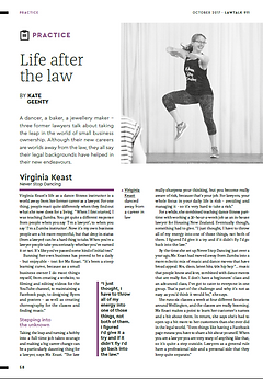 An article about Never Stop Dancing in LawTalk Magazine in NZ