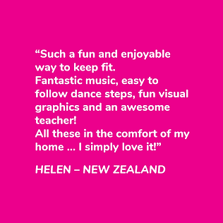 This is a graphic of a testimonial from Helen about why she loves NSD Online dance fitness classes.