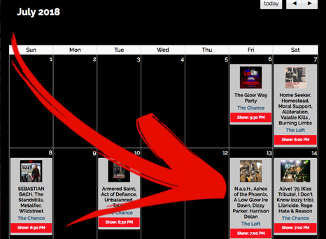 The Loft- July Calendar 2018