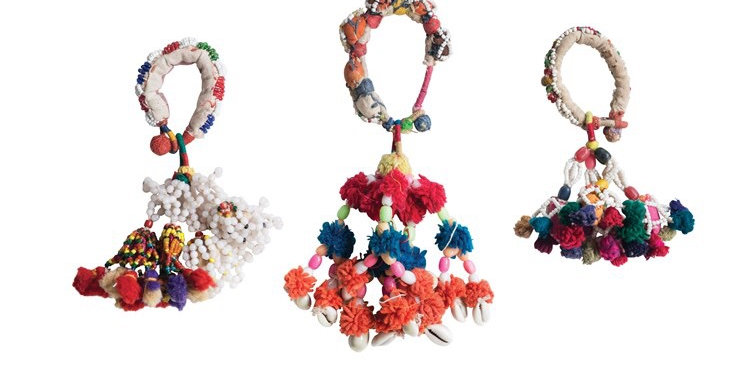 Found Hand-Beaded Cotton Tassel Camel Adornments #DA9730