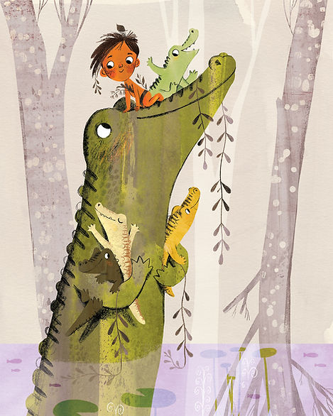 Momma alligator and her babies, illustration by Jaclyn Sinquett