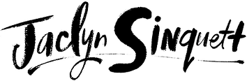 Jaclyn Sinquett logo, name hand-lettered, lettering