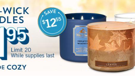 Bath & Body Works 3-Wick Candles - $11.95