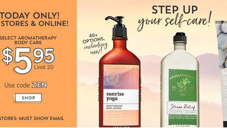 Today Only Aromatherapy Body Care only $5.95 at Bath and Body Works
