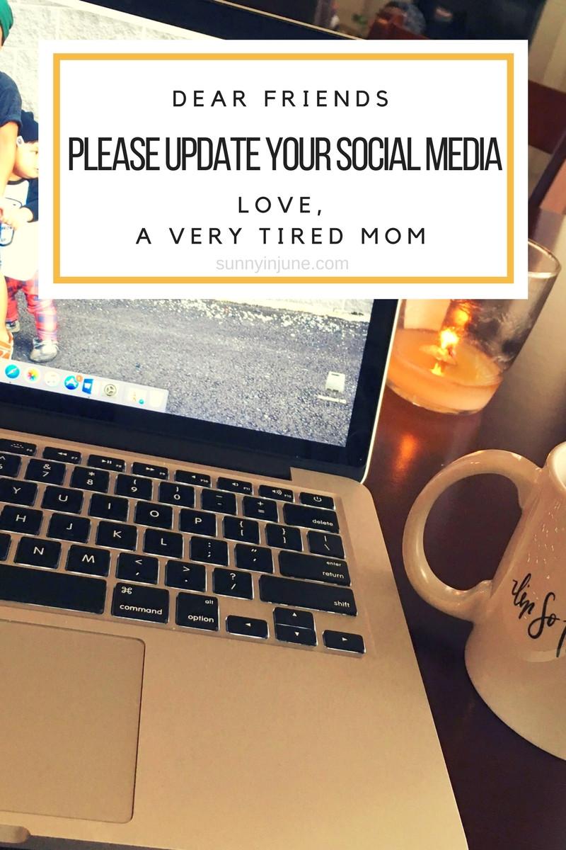 Dear Friends -- please update your social media!