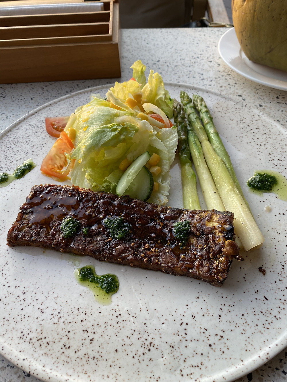 Natra Bintan:  tempeh steak with asparagus and a side salad