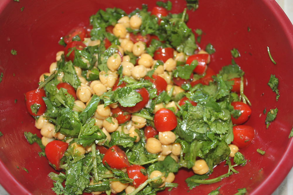 Sunny in June - Chickpea, Cilantro, & Tomato Salad