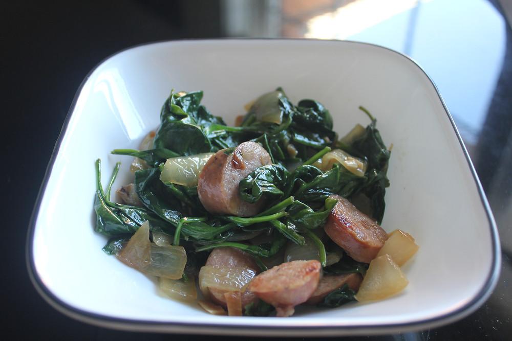 Macro Friendly, Easy, Quick Weeknight Dinner: Chicken Apple Sausage, Spinach Onion, & Sweet Potato! YUM!