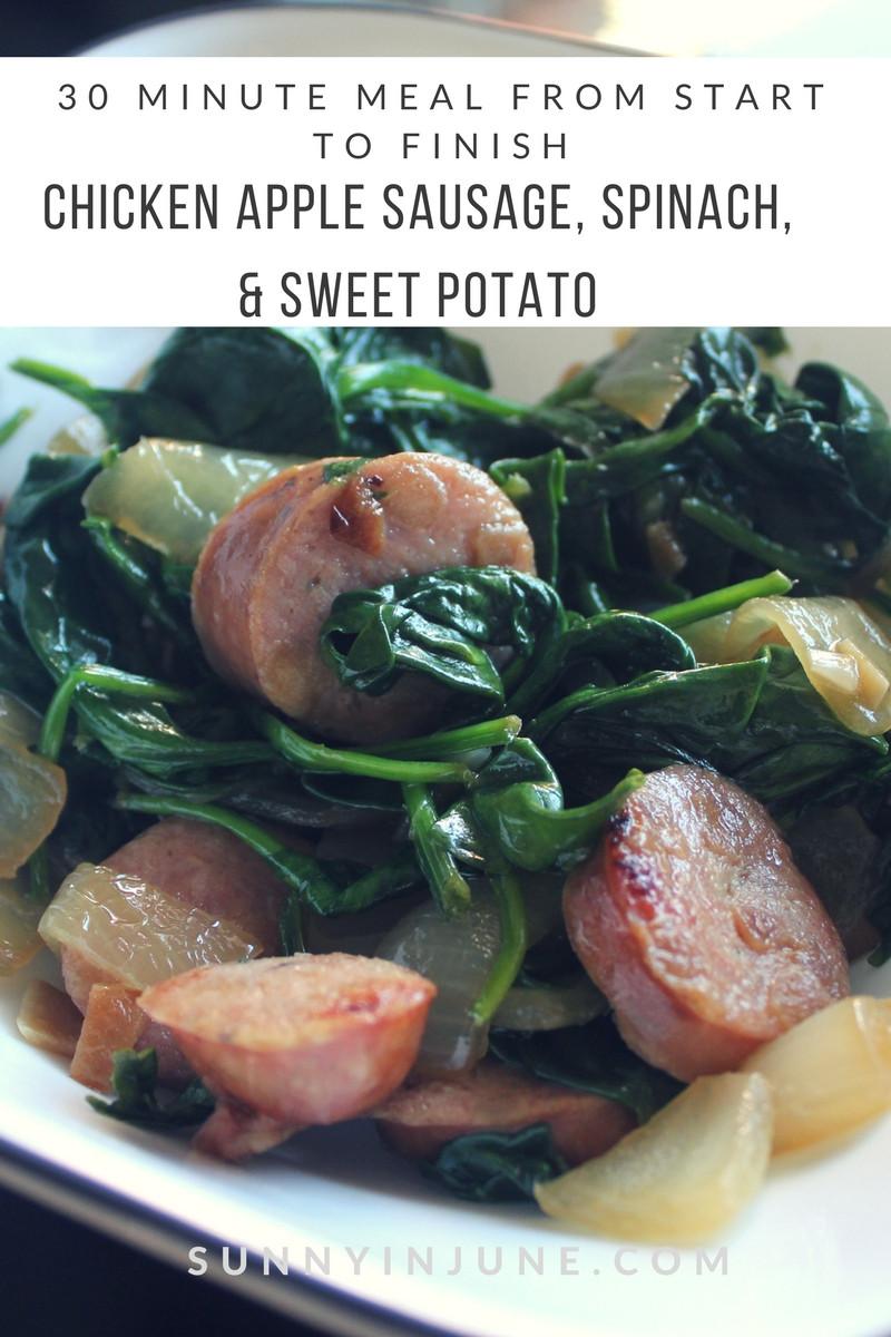 Macro Friendly, Easy, Quick Weeknight Dinner: Chicken Apple Sausage, Spinach, Onion, & Sweet Potato! YUM!