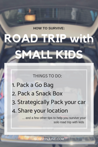 what to pack when you road trip with young kids -- a snack box, pack your car properly, and other tips! // sunnyinjune.com