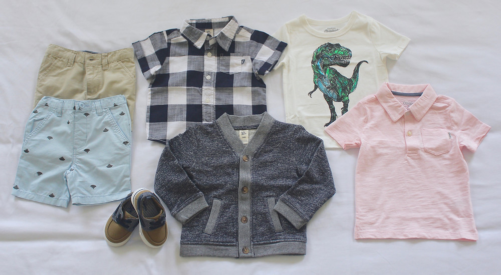 Spring Capsule Wardobe for Toddler and PreSchool Boys: 6 versatile pieces 13 outfits for any occasion!