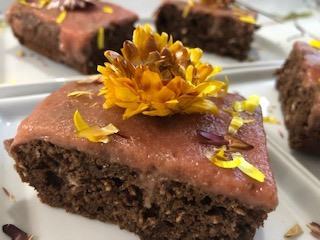 Chocolate Oatmeal Rhubarb Poke Cake